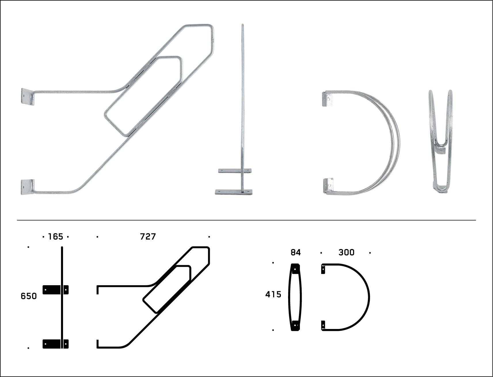 Zenzo Miljø - Sykkelprodukter - RAMBO Låsebøyle - sykkelstativ tegning til produktfakta