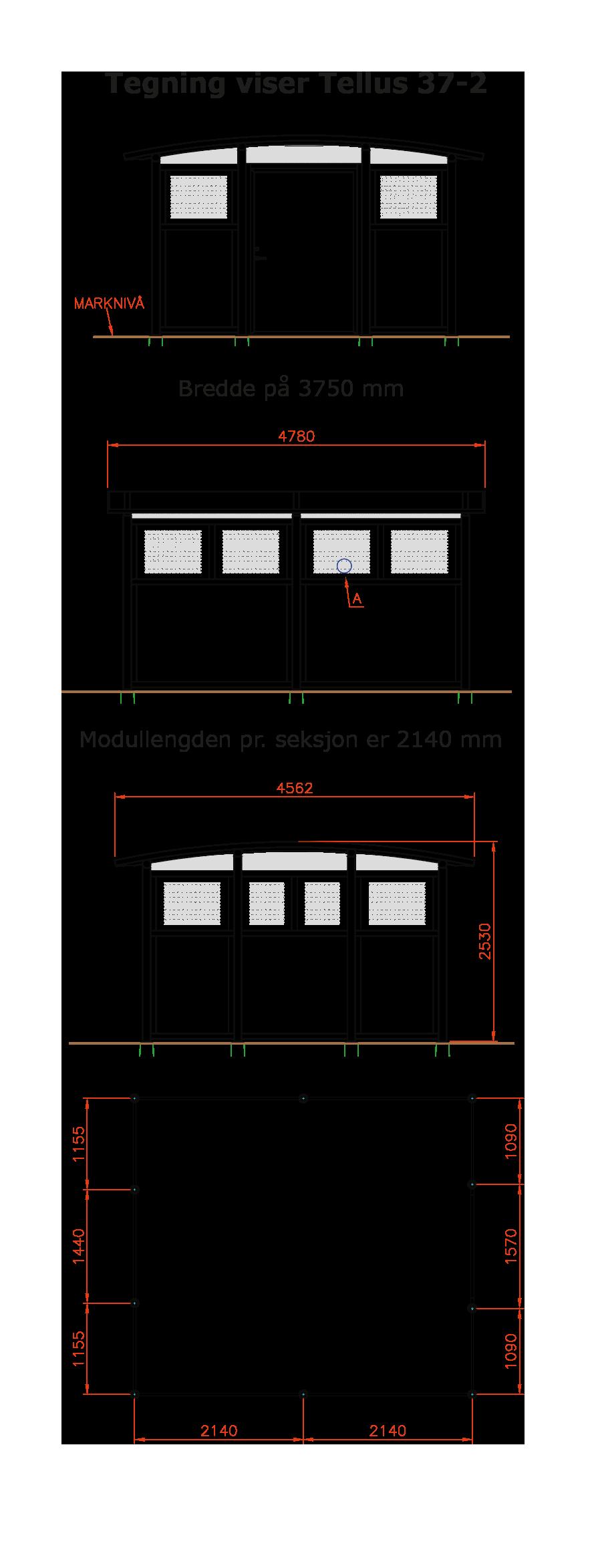 Zenzo Miljø -Tellus 37-2 Avfallshus - Miljøhus -tegning