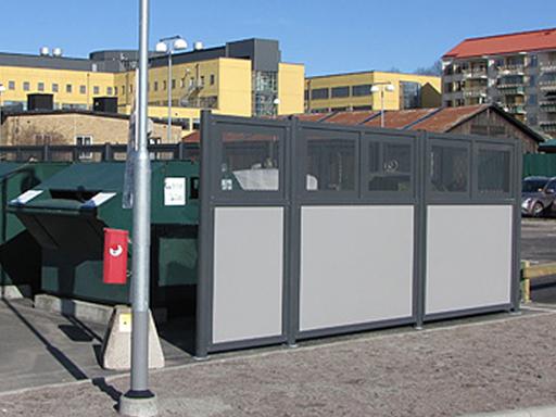 Tellus containerskjuler - Skjermvegger i vedlikeholdsfrie moduler.